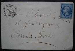 Chantelle Allier Pc 730 Sur N°14, Lettre De L'abbé Boudant, Cachet Au Revers - 1849-1876: Classic Period