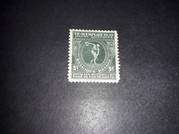 "A8MIX10 BELGIO 1920 OLIMPIADI DI ANVERSA SOVRAPREZZO 5C +5 ""XX"" - Unused Stamps"