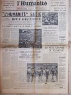 Journal L'Humanité (31 Juillet 1957) L'Huma Saisie - Banques - Festival Moscou - Doublage Films - 1950 - Nu