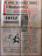 Journal L'Humanité Dimanche (1er Janvier 1956) Thorez - Monde Libre - Le Monde Libéré - Peynet - M Macquet - 1950 - Nu