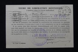 FRANCE - Carte De Service Militaire -  Titre De Libération Définitive Du Mans En 1937 Pour Flée - L 86112 - 1921-1960: Période Moderne