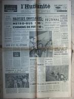 Journal L'Humanité (1er Août 1957) Hausses Prix - Spéléos Henne Morte - OMS - Festival Jeunesse - Algérie- Colonna - 1950 - Nu