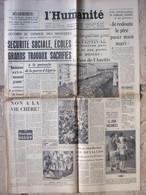 Journal L'Humanité (2 Août 1957) G Alleg Inquiète - Festival Moscou - Renée Lebas - Plan Gaillard - 1950 - Nu