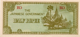 MYANMAR-BURMA -1/2 RUPEE 1942 THE JAPANESE GOVERNMENT  P-13  UNC - Myanmar