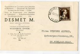 1954 1 Plikart(en) - Postkaart(en) - Zie Zegels, Stempels, Hoofding DESMET M. Wesenbeek Ophem - Ijzer Koperwaren Meubels - Covers & Documents