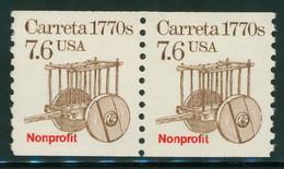 USA Scott # 2255 1988  American Transportation Coil - 7.6¢Carreta (single) Mint Never Hinged  (MNH) - Nuevos
