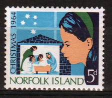 Norfolk Island 1964 Single Stamp To Celebrate Christmas. - Isola Norfolk