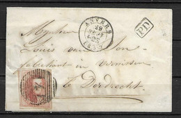 OBP12A Op Briefomslag Van 29 Sept. 1859 Vanuit Anvers Naar Dordrecht (Nederland) Met Aankomststempel - 1858-1862 Medallions (9/12)