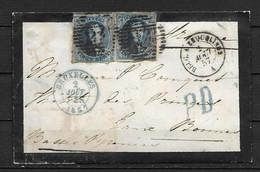 OBP7 (2x), Op Briefomslag Van 2 Aug. 1857 Vanuit Bruxelles Naar Frankrijk, Met Doorgangstempel - 1851-1857 Medallions (6/8)
