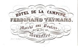 Carte Porcelaine D'Hotel De La Campine, Ferdinand Taymans, Bruxelles - Sin Clasificación