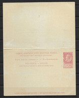 Ongebruikte Postkaart Met Betaald Antwoord 10c - 1893-1900 Thin Beard