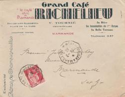 Cachet Ambulant Convoyeur MONT De MARSAN à MARMANDE 1933 Enveloppe Commerciale Grand Café Richelieu Bière Cinzano - 1921-1960: Période Moderne