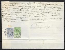 OBP60+56 (mengfrankering) Op Brief Van 30 Jan. 1895 Vanuit Havinnes Naar Bouillon - 1893-1900 Thin Beard