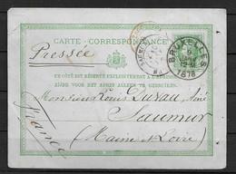 Postkaart 10c Uit 1878 Vanuit Bruxelles Naar Frankrijk (Saumur) Met Aankomststempel - 1869-1883 Leopold II