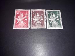 """A8MIX11 BELGIO 1957-58 ESPOSIZIONE UNIVERSALE DI BRUXELLES 3 VALORI """"XO"""" - Used Stamps"""