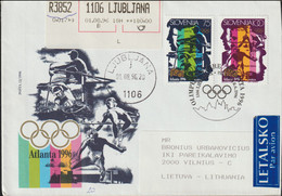 Slovenia Registered FDC 1996 Atlanta Olympic Games Posted From Ljubljana To Lithuania (G123-38) - Estate 1996: Atlanta