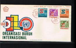 1969 - Indonesia FDC ZB 632-635 - Organizations - BIT/ILO - 50 Years [ZV105] - Indonesia