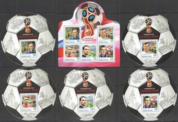 2016 BURUNDI FOOTBALL WORLD CUP RUSSIA 2018 SPORT FEDOTOV BESKOV SALNIKOV 1KB+5BL MNH - 2018 – Rusland