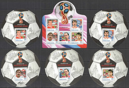 2016 BURUNDI FOOTBALL WORLD CUP RUSSIA 2018 SPORT KHIDYATULLINE TCHERENKOV BELANOV 1KB+5BL MNH - 2018 – Rusland