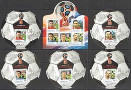 2016 BURUNDI FOOTBALL WORLD CUP RUSSIA 2018 SPORT METREVELI MASLATCHENKO PONEDELNIK 1KB+5BL MNH - 2018 – Rusland