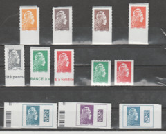 FRANCE / 2018 / Y&T N° AA 1594/1604 Dont 1603A ** : YZ 12 TP : 9/feuille, 2/roulette & 1/carnet (ts BdF D Sf Roulettes) - Luchtpost