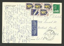 0.80 Marianne De Béquet & Blasons / Carte Postale Avion >>> USA / QUIMPER 27.07.1977 - Posttarieven