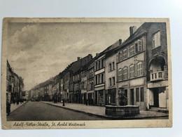 Saint Avold 1940 1943 Adolf Hitler Strasse Rue Avec Drapeaux Allemand WWII Et Croix Rouge - Saint-Avold