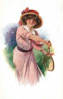 Femme Fantaisie - Joueuse De Tennis - Illustration Signée, Signature à Identifier - Carte à L'Etoile N° 43463 - Vrouwen
