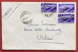 XX MILLE MIGLIA  L.25 Coppia + Uno  SU ESPRESSO DA FORLI' A URBINO IN DATA  9/5/53 - 1946-60: Marcophilie