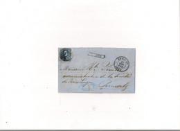 Belgique COB 11 Ambulant D'Anvers à PERUWELZ Oblitération à Barres N1(NIPA 450) - 1858-1862 Medaglioni (9/12)