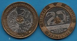 FRANCE LOT 2 X 20 FRANCS 1992 - 1994 Mont Saint Michel - Pierre De Coubertin Olympic Committee - L. 20 Franchi