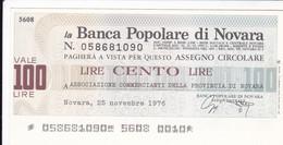MINIASSEGNO BANCA POPOLARE DI NOVARA ASSOCIAZIONE COMMERCIANTI DELLA PROVINCIA DI NOVARA - [10] Cheques Y Mini-cheques