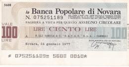 """MINIASSEGNO BANCA POPOLARE DI NOVARA F.LLI GANCIA & C """"S.A.V.A.S"""" S.P.A. CANELLI - [10] Cheques Y Mini-cheques"""