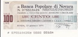 MINIASSEGNO BANCA POPOLARE DI NOVARA DISTILLERIA CANELLESE C. BOCCHINO & C. S.P.A. CANELLI - [10] Cheques Y Mini-cheques