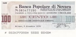 MINIASSEGNO BANCA POPOLARE DI NOVARA ASSOCIAZIONE INDUSTRIALE LOMBARDA - [10] Cheques Y Mini-cheques