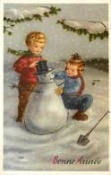 Enfants Et Bonhomme De Neige * CPA Illustrateur * Snowman * Bonne Année * Neige Hiver - Andere