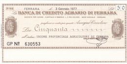 MINIASSEGNO BANCA DI CREDITO AGRARIO FERRARA UNIONE PROVINCIALE AGRICOLTORI DI FERRARA - [10] Cheques Y Mini-cheques