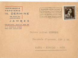1953 1 Plikart(en) - Postkaart(en) - Zie Zegels, Stempels, Hoofding IS. DERMINE Imprimerie Papeterie Jambes Rue Commerce - Covers & Documents