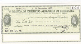 MINIASSEGNO BANCA DI CREDITO AGRARIO FERRARA ASSOCIAZIONE PROVINCIALE AGRICOLTORI DI FERRARA - [10] Cheques Y Mini-cheques