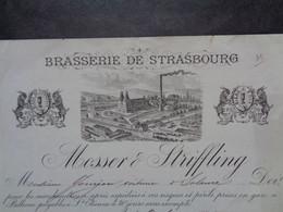 THEME BIERE - FACTURE - BRASSERIE DE STRASBOURG - BELLEVUE, ST ETIENNE 1884 - MOSSER  & STRIFFLING - Birra