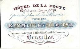 Carte Porcelaine Du Hotel De La Poste, Keymeulen-Degeest, Bruxelles - Sin Clasificación