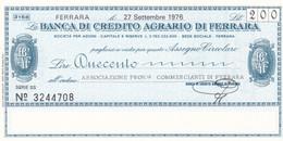 MINIASSEGNO BANCA DI CREDITO AGRARIO FERRARA UNIONE PROVINCIALE COMMERCIANTI DI FERRARA - [10] Cheques Y Mini-cheques