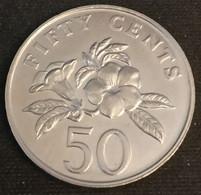 SINGAPOUR - SINGAPORE - 50 CENTS 1986 - KM 53.1 - ( Blason Haut - Tranche Cannelée ) - Singapore