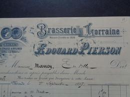 THEME BIERE - FACTURETTE -  BRASSERIES LORRAINE - NANCY 1897 - EDOUARD PIERSON - BIERES BLONDES & BRUNES - Birra