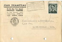 1958 1 Plikart(en) - Postkaart(en) - Zie Zegels, Stempels, Hoofding JEAN DEMARTEAU Brxl Maritime - Transports Int. - Covers & Documents