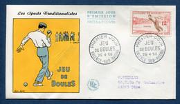 ⭐ France - Premier Jour - FDC - Jeu De Boules - 1958 ⭐ - 1950-1959