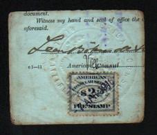 American Consular Service, FEE Stamp, Sur Petit Fragment De Carte, Cachet à Sec: American Consulate, Berne Switzerland - Used Stamps