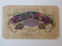 Carte Parfumée + Calendrier  Du Parfum Violettes A. Biette & Fils De Nice (06) N° 810. - Big : 1901-20