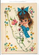Big Eyes. Petite Fille Et Rose Rose - Contemporanea (a Partire Dal 1950)