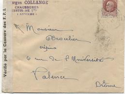 07 - ST MARTIN DE VALAMAS  :Lettre Pour VALENCE (26)Censure F F I , Bande De Fermeture - 1921-1960: Période Moderne